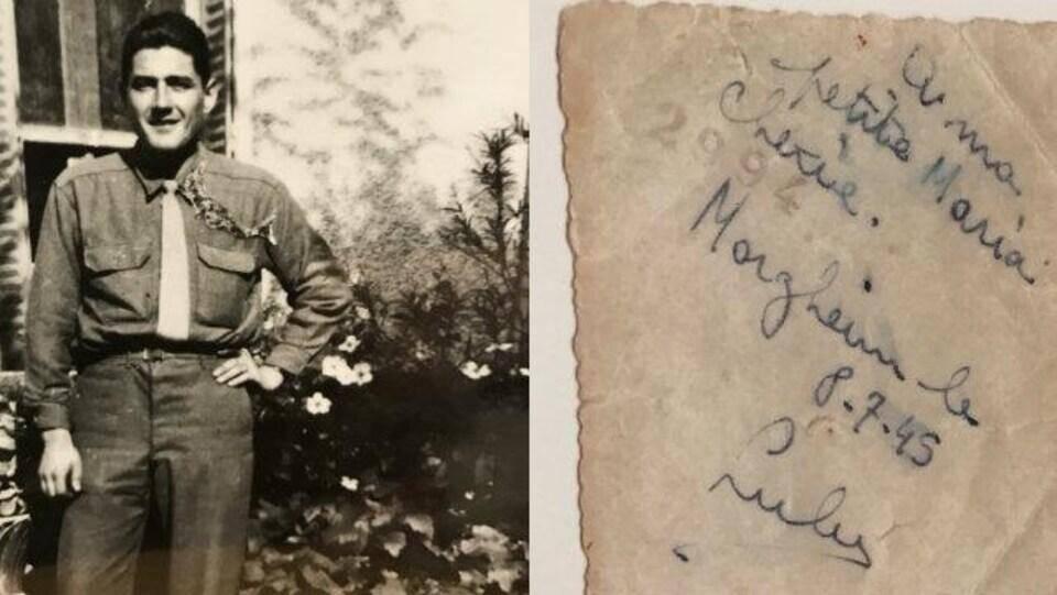 Le seul document que possédait Michael de son père: une photo et un mot en lettres manuscrites.