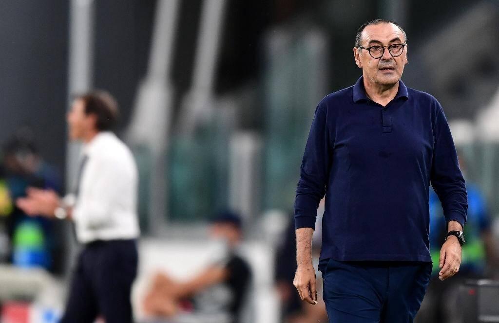L'entraîneur de la Juventus Maurizio Sarri lors du 8e retour de Ligue des champions face à Lyon, le 7 août 2020 à Turin