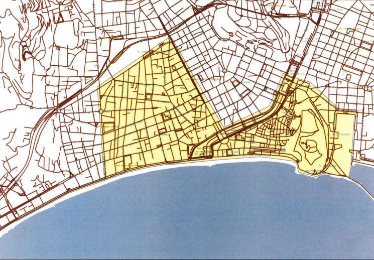 Le périmètre de cette obligation sur la carte. A noter qu'il manque la chaussée sud de la Promenade des Anglais.