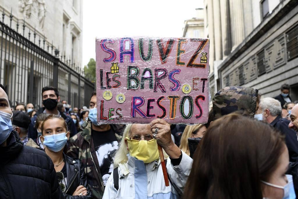 Des restaurateurs manifestent à Marseille le 25 septembre 2020 contre les nouvelles mesures sanitaires
