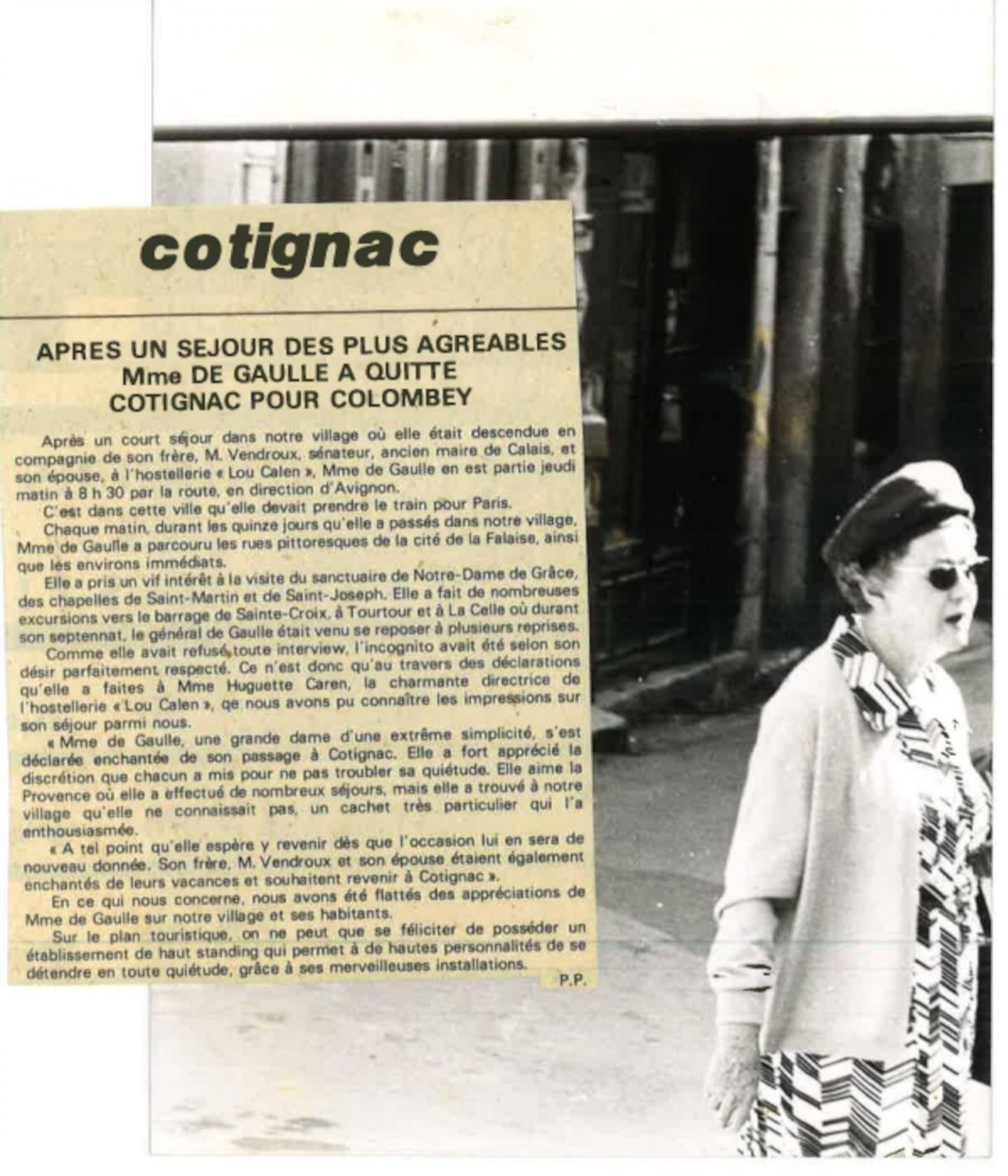 Quand Mme De Gaulle séjournait à Cotignac.