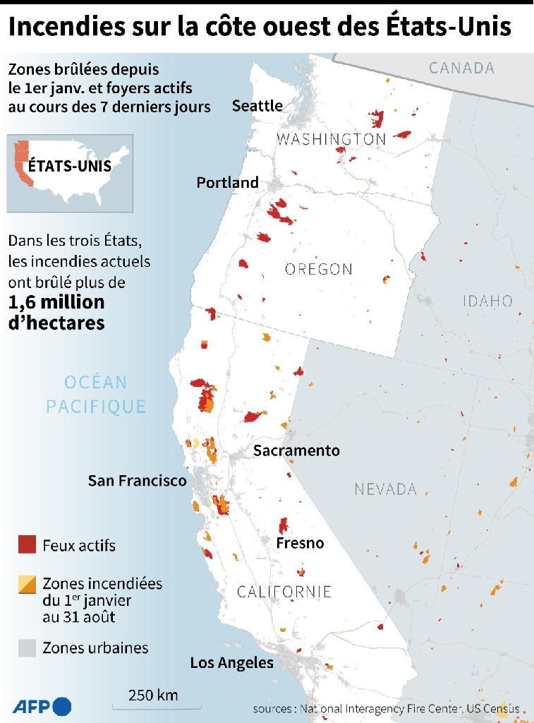 Les incendies sur la côte ouest des Etats-Unis