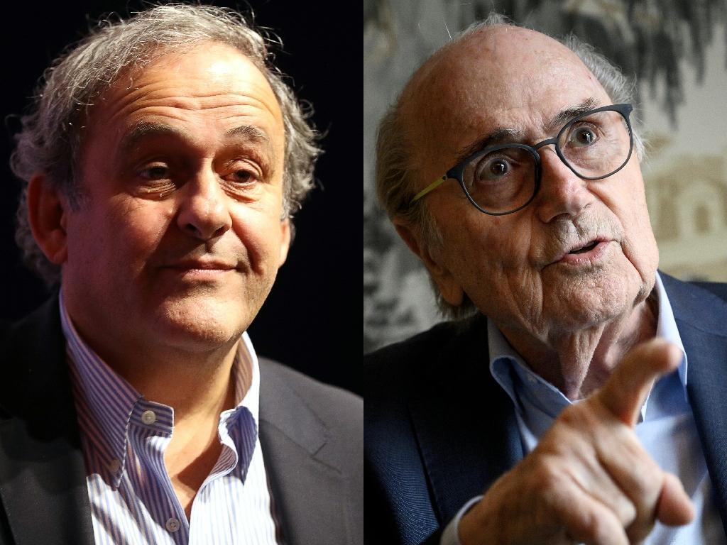 Michel Platini (g) le 22 novembre 2019 à Nice et Sepp Blatter (d), le 31 août 2020 à Zürich