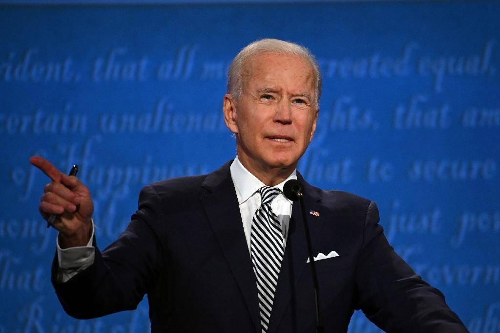 Joe Biden lors du débat l'opposant à Donald Trump à Cleveland mardi soir