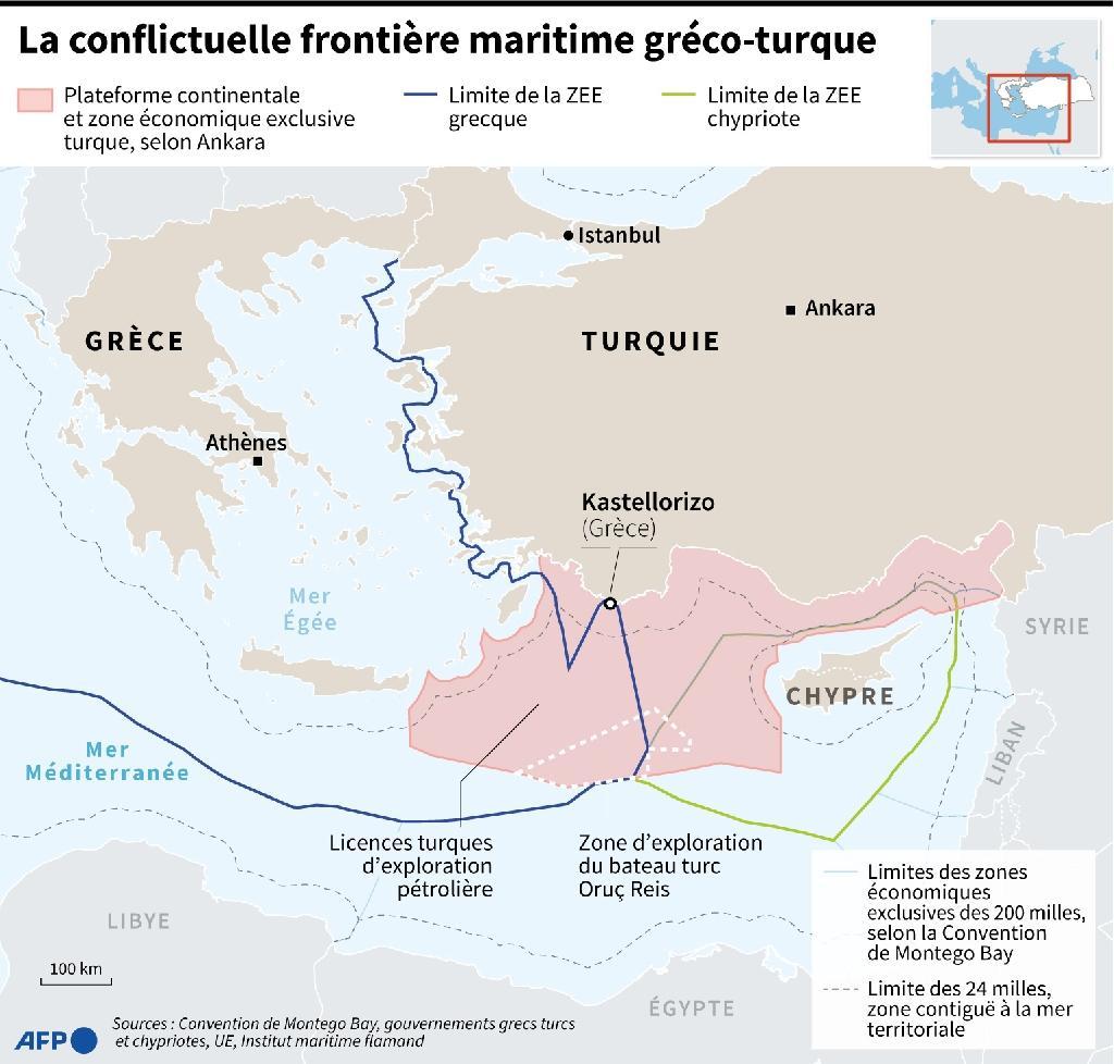 La conflictuelle frontière maritime greco-turque