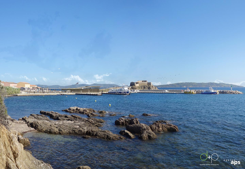 La gare maritime reconfigurée telle qu'elle sera visible depuis la côte.