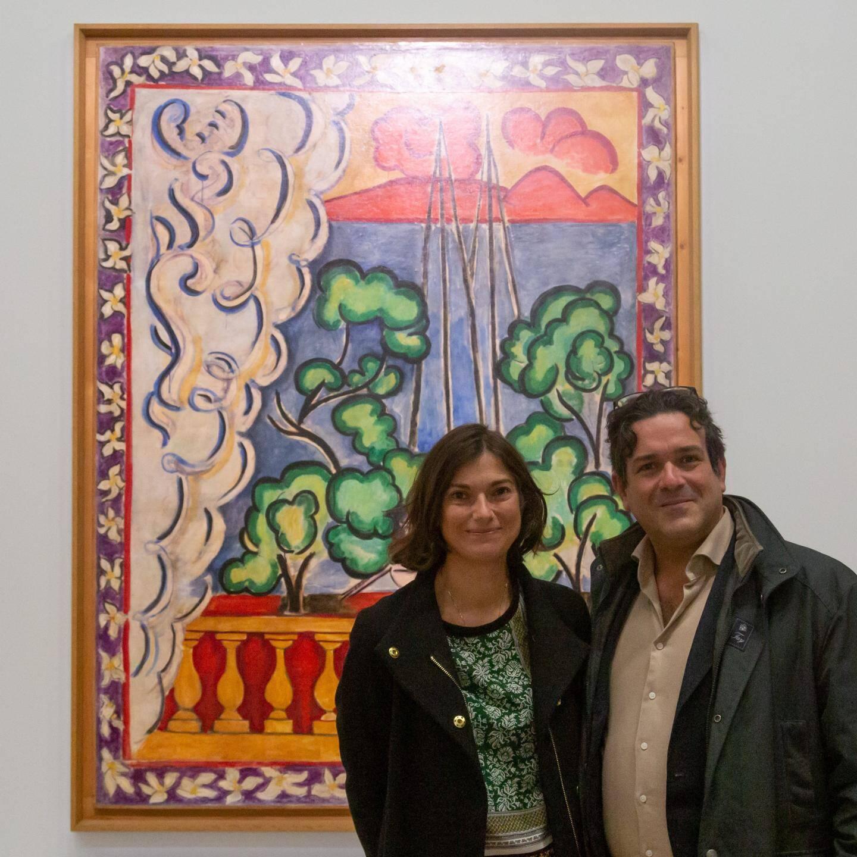 Lors du vernissage à Paris, les œuvres « niçoises » de Matisse : Papeete-Tahiti, un dessin : Pin, étude, la maquette de chasuble noire et Nu bleu, IV.