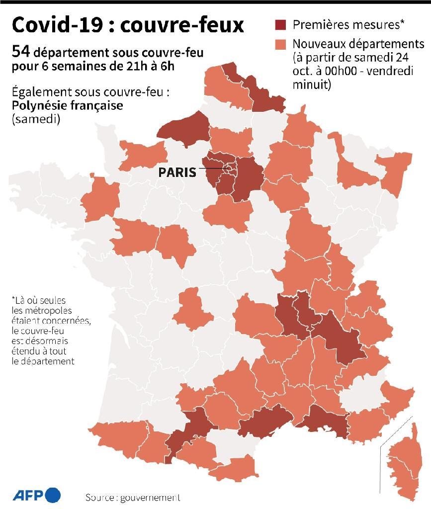 Covid-19: les couvre-feux en France