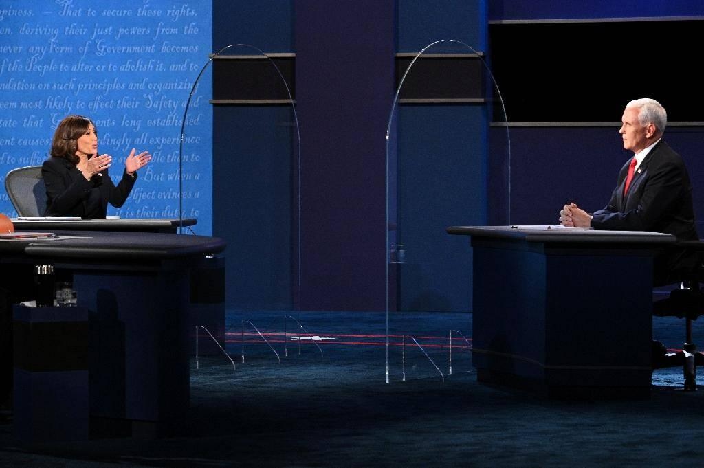 La colistière de Joe Biden, Kamala Harris, et le vice-président républicain Mike Pence à Salt Lake City le 7 octobre 2020