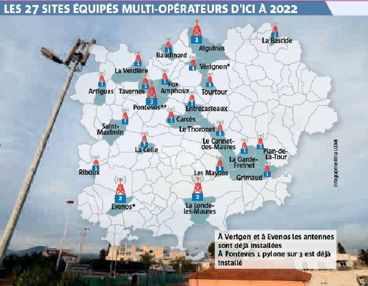 Les 27 sites équipés multi-opérateurs d'ici à 2022