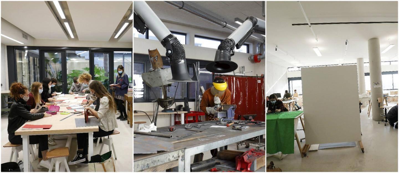 Ateliers reliure, photo, menuiserie ou encore métal… Les 180 étudiants bénéficient de locaux spécialement conçus pour leurs usages spécifiques. De larges ouvertures font entrer la lumière naturelle.
