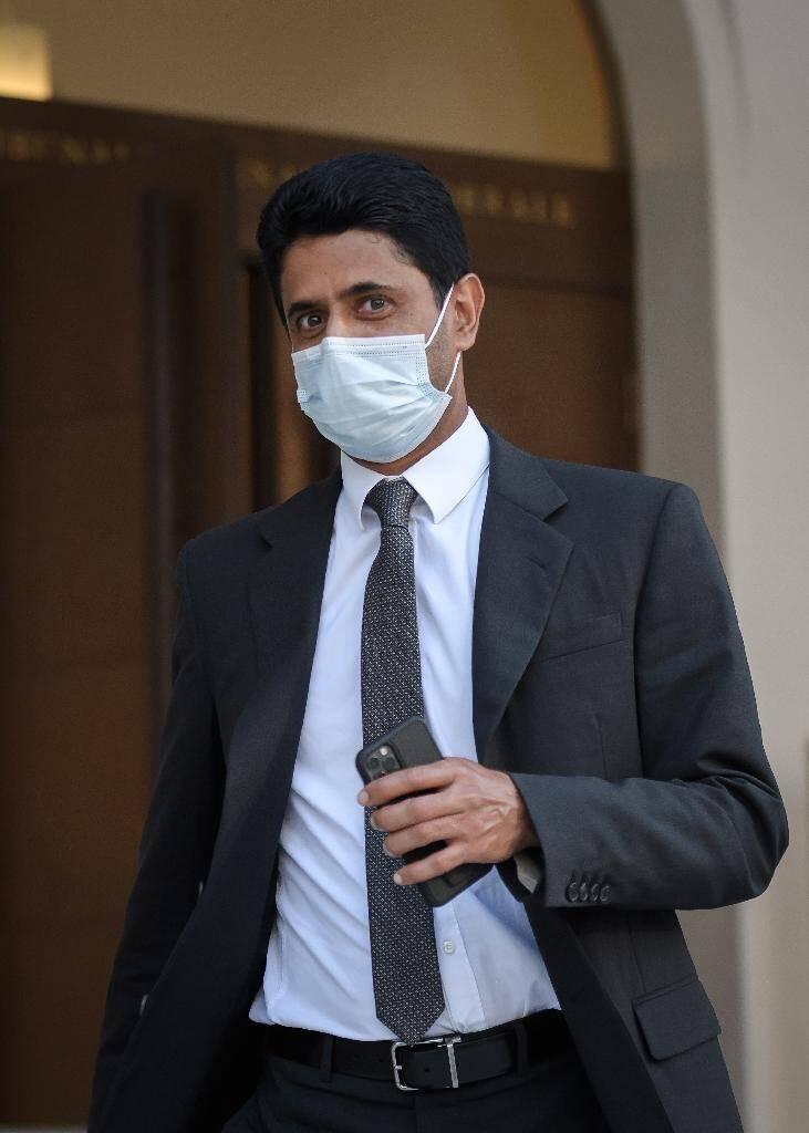 Le président du Paris SG Nasser Al-Khelaifi quitte le Tribunal pénal fédéral le 14 septembre 2020 à Bellinzone en Suisse