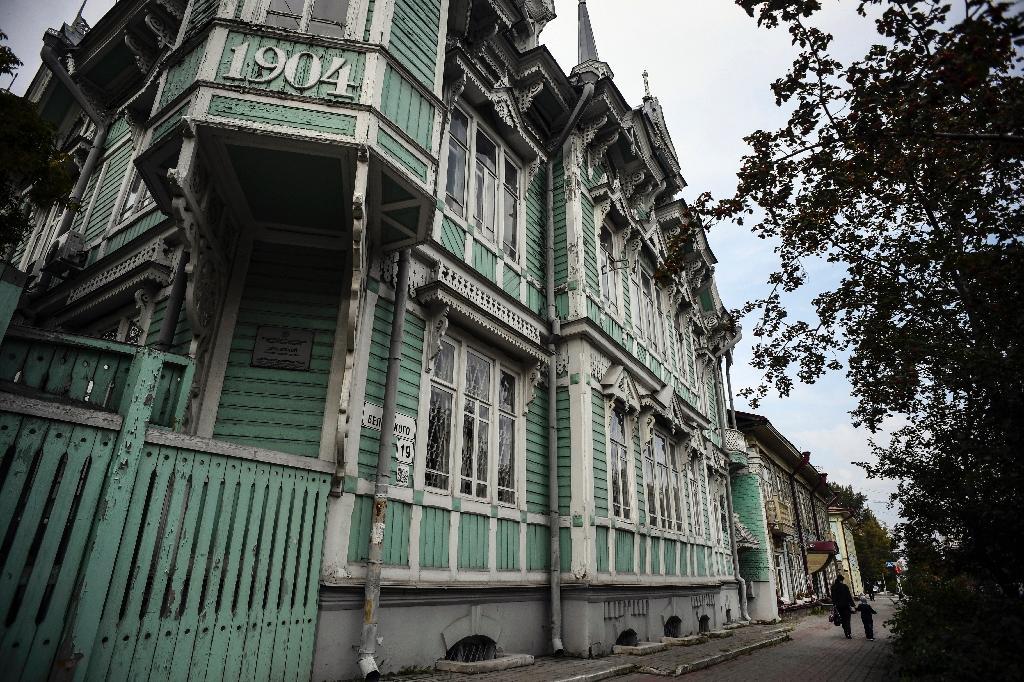L'ancienne demeure en bois de l'architecte russe Stanislav Khomich, dans la ville de Tomsk, en Sibérie, le 8 septembre 2020