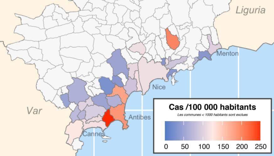 Les communes des Alpes-Maritimes avec le plus de cas positifs à la Covid-19, entre le 5 et le 11 octobre.