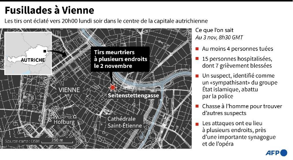 Carte de la capitale autrichienne Vienne où des fusillades meurtrières sont survenues lundi soir à plusieurs endroits