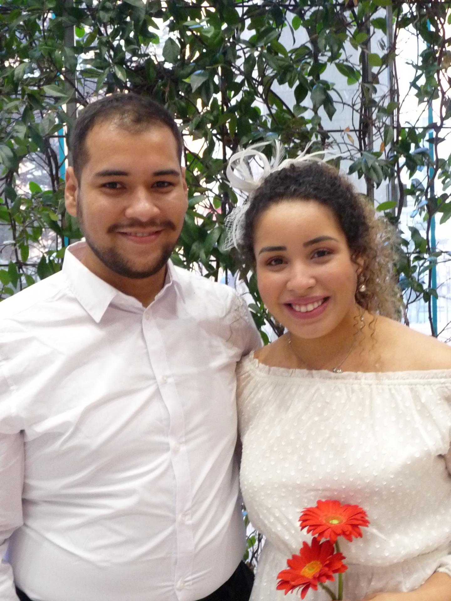 Gabriel David Nunes, étudiant, et Thayanara Alves De Barros Silva, gestionnaire.