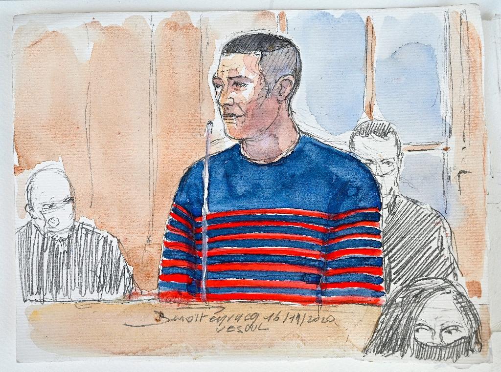 Croquis d'audience de Jonathann Daval, jugé devant la cour d'assises de la Haute-Saône, à Vesoul, le 16 novembre 2020