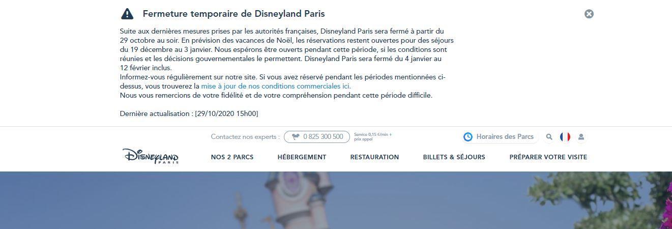 L'alerte visible sur le site de Disneyland Paris.