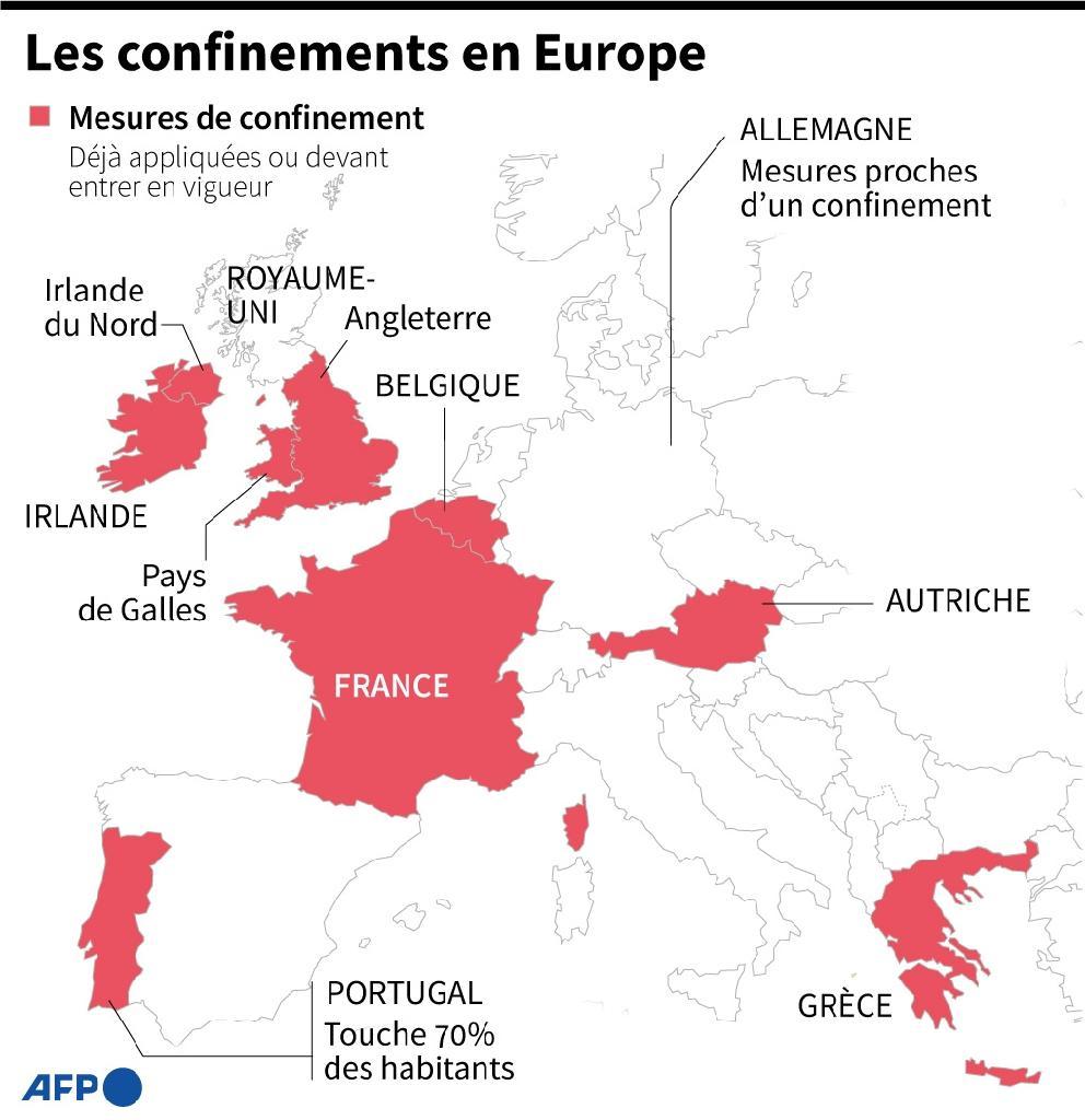 Confinements en Europe