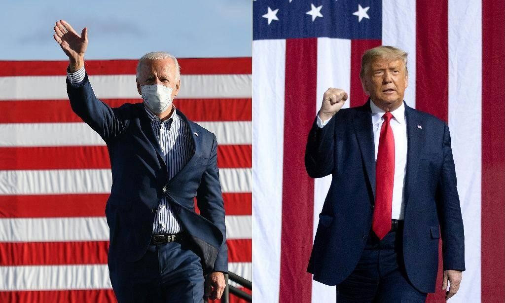 Joe Biden (G) et Donald Trump (D) lors de meetings de campagne en octobre 2020