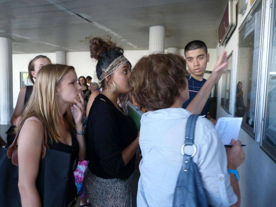 Entre fébrilité et excitation, les élèves de terminale ont découvert les résultats du Bac, hier matin.(Ph. D. B.)