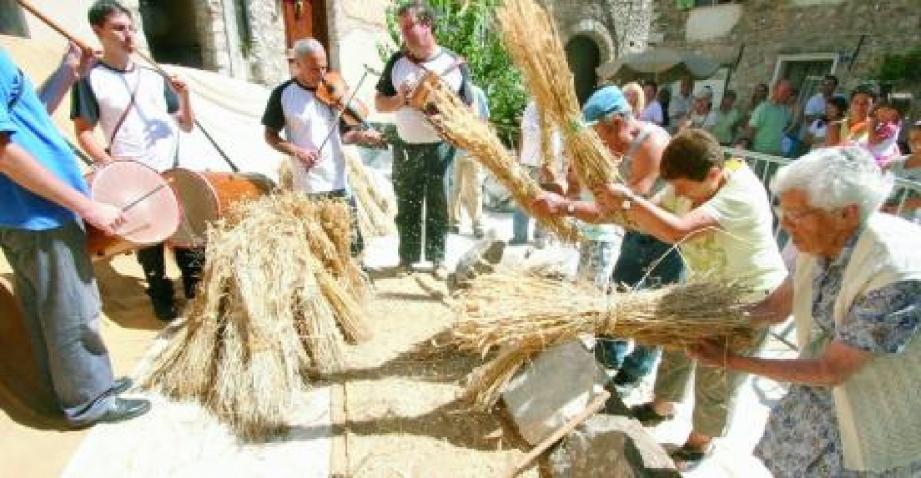 Les anciens donnent l'exemple et n'ont rien perdu des gestes d'autrefois. Le grain est séparé de la paille, puis éventé, lavé avant d'être confié au meunier pour en faire la farine.(Photo archives J.-P. B.)