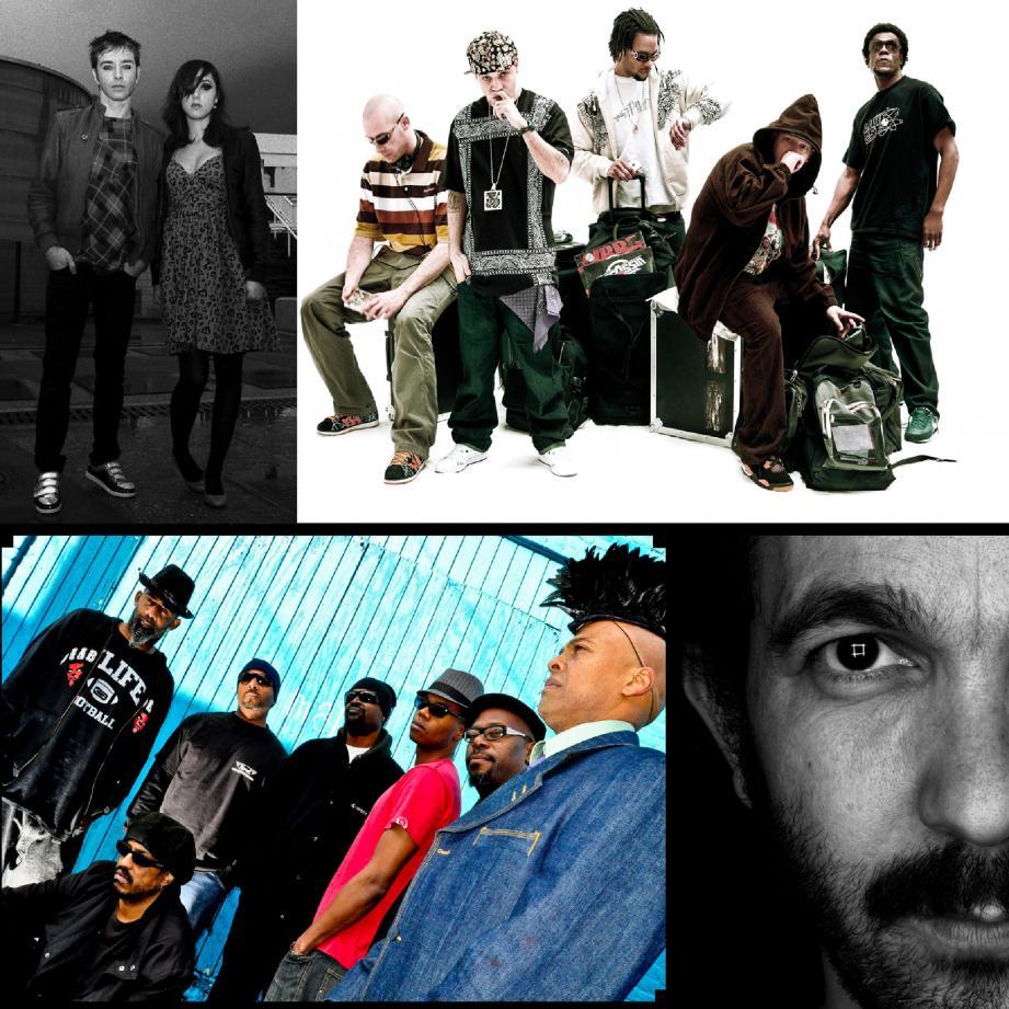 De gauche à droite : le groupe Kelly & Kelly, Assassin, Fishbone et le DJ Etienne de Crécy. (Photo DR, etienne BW1)