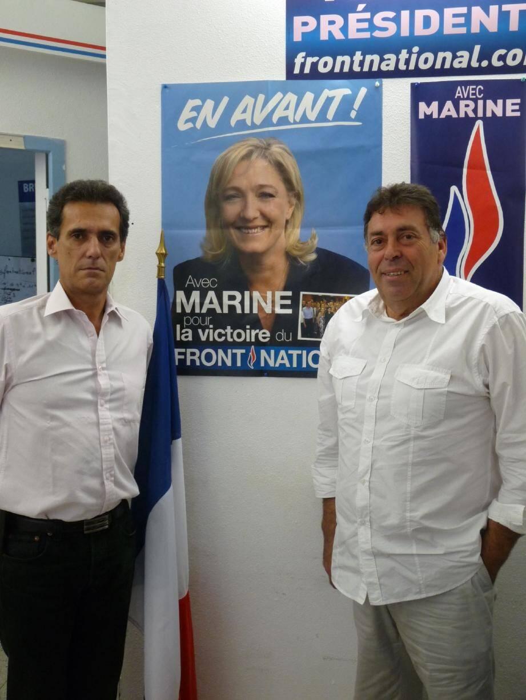 Bruno Ligonie, secrétaire départemental adjoint, et Michel Cotta, responsable FN pour la communauté urbaine de Nice, ne masquent pas leur fierté d'accueillir Marine Le Pen tout le week-end dans la capitale azuréenne…
