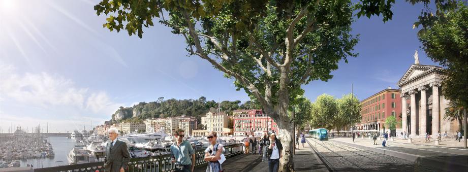 Le terminus de ligne 2 côté est se fera sur la place Ile-de-Beauté, complètement remodelée. (Photo montage DR)