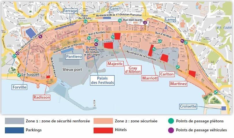 Sans badge, impossible d'entrer et de circuler dans les zone 1 et 2. Avec badge, il faut emprunter des points de passage obligés pour entrer et sortir des deux zones. Seul les parkings Laubeuf et du Palais sont fermés.