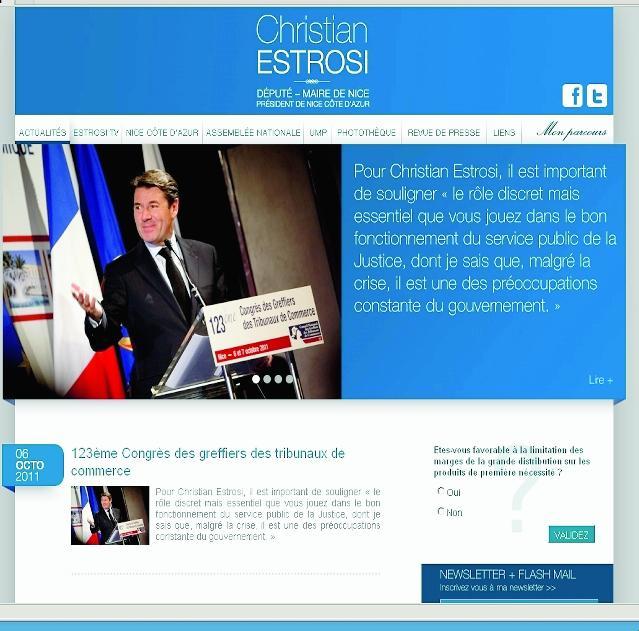 Le nouveau site du député-maire de Nice www.christian-estrosi.com lui vaut les «honneurs» du classement de Élus 2.0 sur les députés les plus « branchés » web...