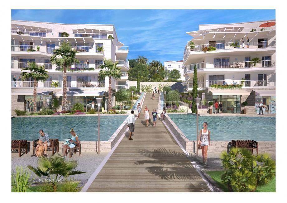 Voilà ce que devrait donner l'ensemble du projet immobilier, vu de l'actuelle place du Commandant-Maria. Des bassins, une rue intérieure, 2 000 m2 de boutiques, le projet se veut la continuité de l'aménagement de la place.(Photos D.R.)