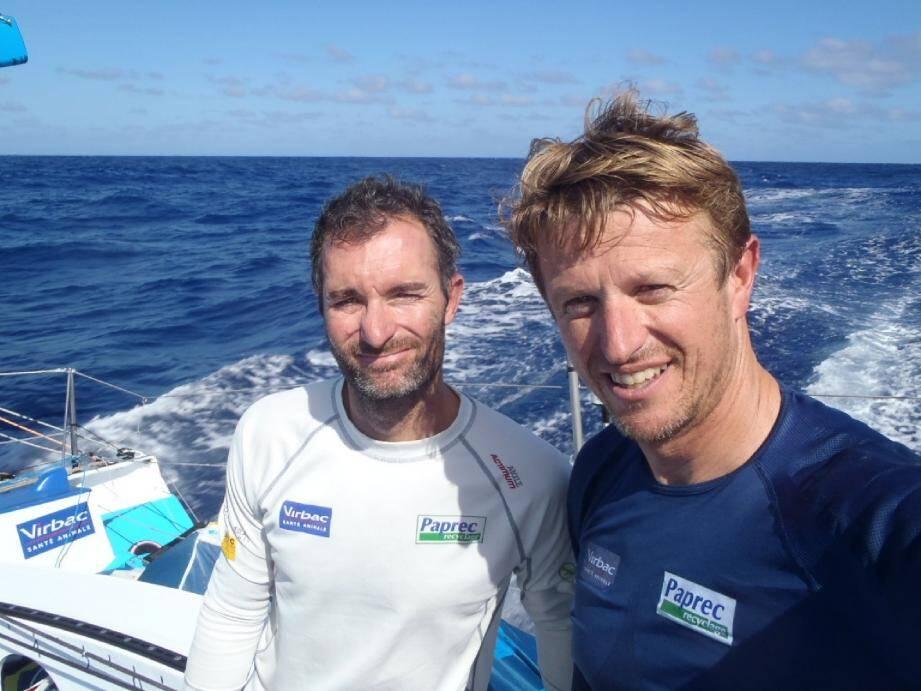 Avec Jérémie Beyou (à gauche), le « Gentleman skipper » a parfaitement maîtrisé son sujet.