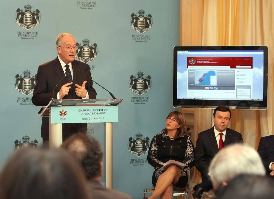 Michel Roger, ministre d'état a profité de la conférence de presse de janvier du gouvernement pour dévoiler les nouveaux outils numériques.