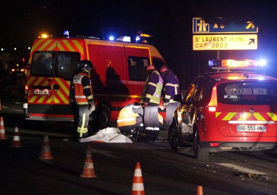 L'accident s'est produit à la sortie de Saint-Laurent-du-Var, au niveau de la bretelle d'accès à Cap 3000 et à l'A8.