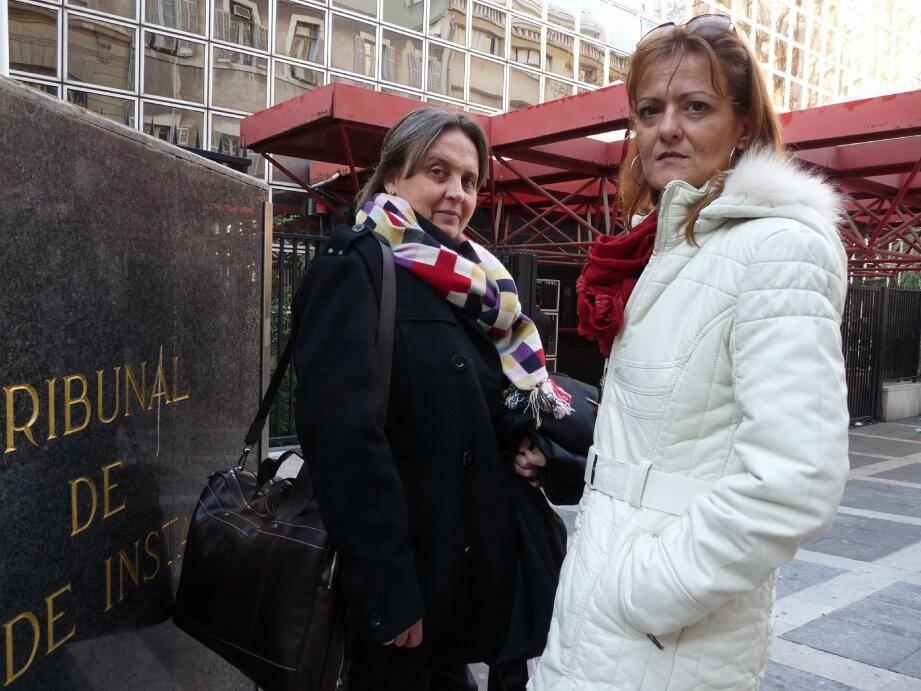 Katia Colombo (à droite) et son avocate ont été reçues pendant près de deux heures, hier par la juge d'instruction à Marseille.