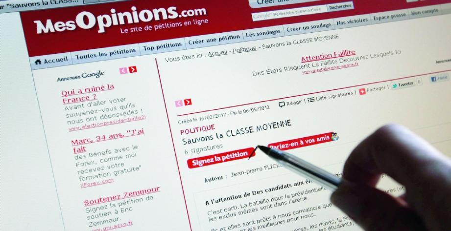 Sur le site www.mesopinions.com c'est la saison des pétitions à l'attention des candidats.(Ph. Patrick Blanchard)