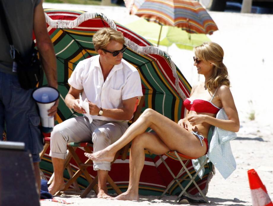 Jérémie Rénier, un Claude François plus vrai que nature sur la plage de Menton en mai 2011, à l'occasion de prises de vue pour le film qui sortira le 14 mars.