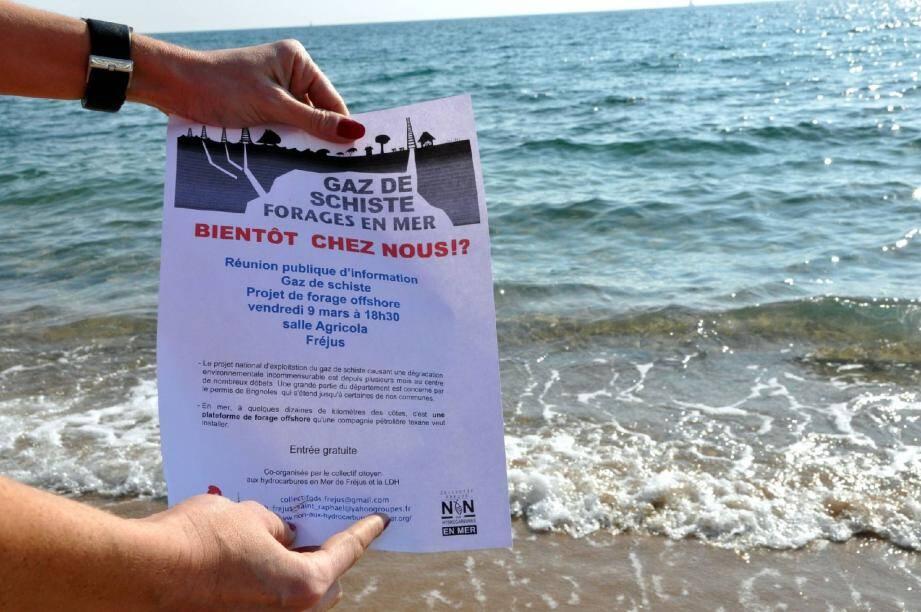 Le collectif dénonce le projet d'installation d'une plateforme de forage offshore à quelques dizaines de kilomètres des côtes d'Agay, Saint-Raphaël/Fréjus ou encore Saint-Aygulf.
