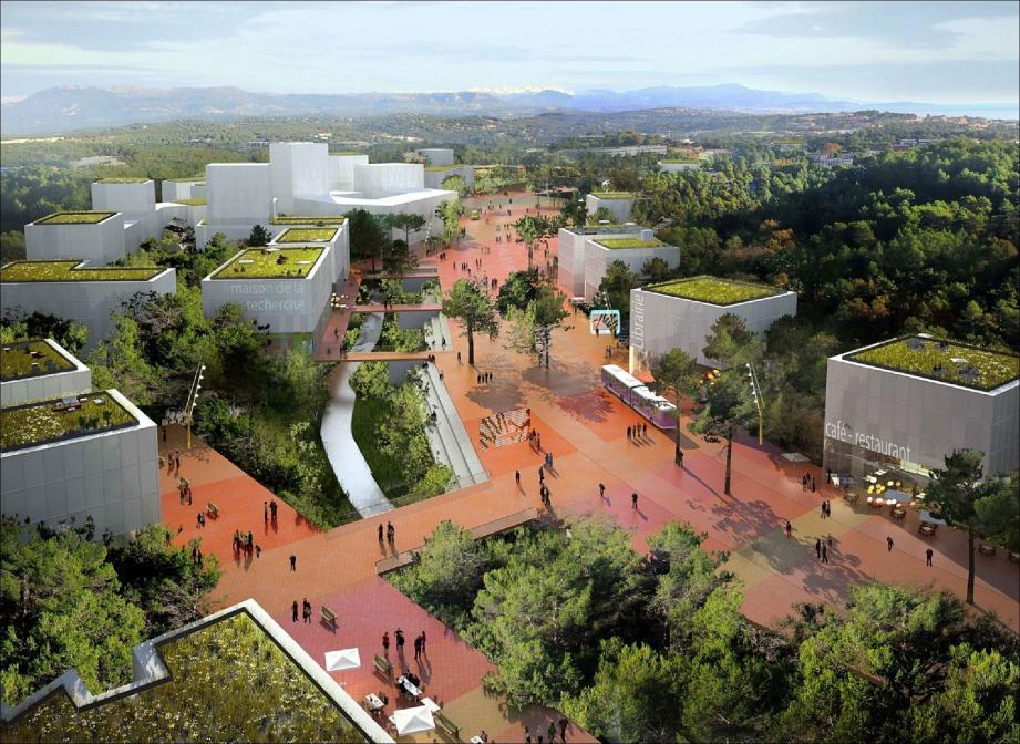 Voici une projection de ce que pourrait être l'un des espaces de vie de la technopole Sophia-Antipolis en 2030. L'urbanisation est surtout envisagée autour de l'axe de transport en commun.(Image de synthèse Symisa)