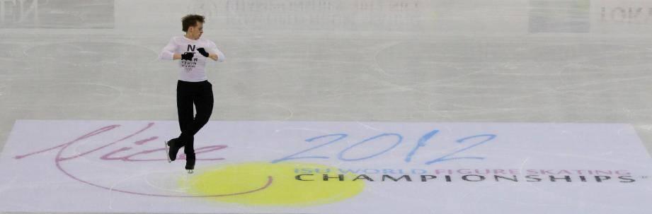 Sergei Voronov, hier, lors des premiers entraînements sur la patinoire niçoise.