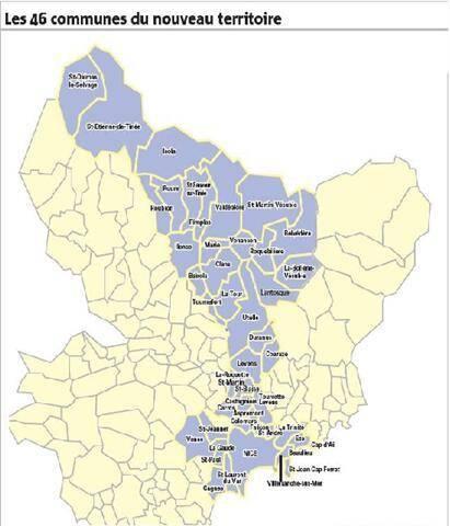 Les 46 communes de la métropole