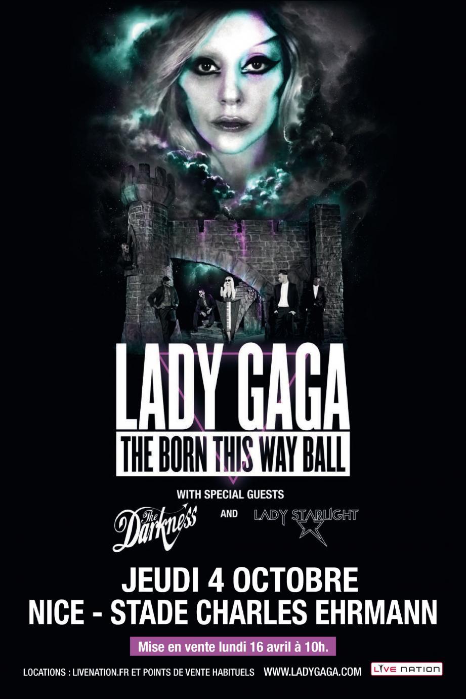 L'affiche de la prochaine tournée mondiale de Lady Gaga dont les dates ne seront officiellement dévoilées que ce matin à 10 heures.