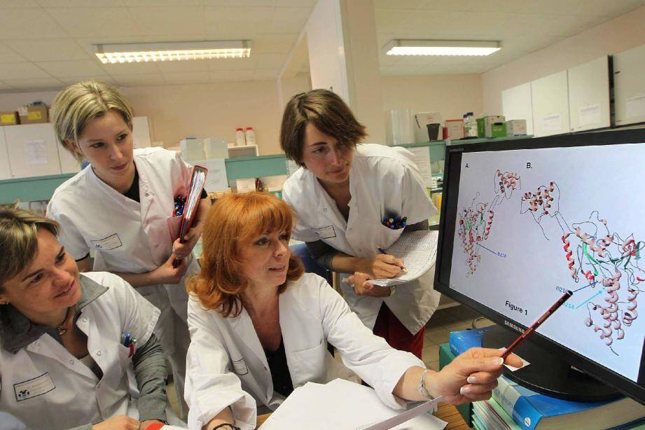 Le Pr Véronique Paquis, entourée de membres de son équipe, analyse sur écran une mutation de l'ADN par modélisation 3D.