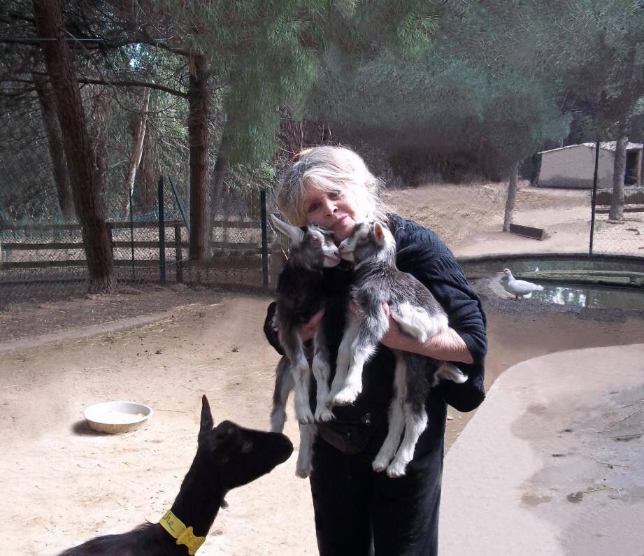 Selon Brigitte, il n'y a plus que la cause animale qui compte, d'où cet amour ici dans sa demeure tropézienne pour ses chevrettes Bambi et Rikiki nées le mois dernier.