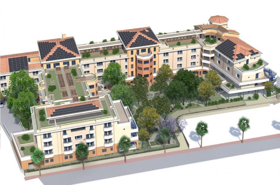Voici ce que sera la future maison de retraite médicalisée « Les Gabres » en construction depuis janvier en face du collège des Mûriers à La Bocca.