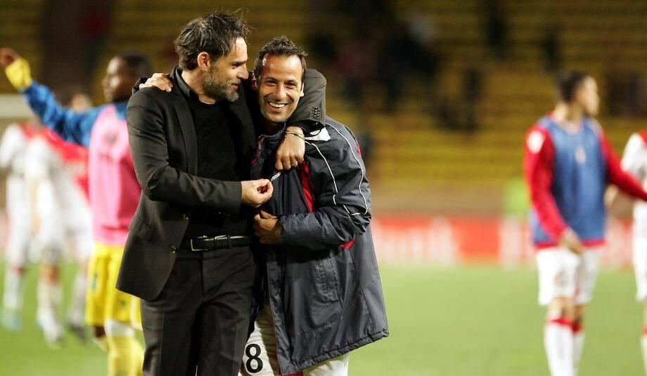 Marco Simone et Ludovic Giuly peuvent savourer. En battant Nantes, les Monégasques ont fait un pas de plus vers le maintien.
