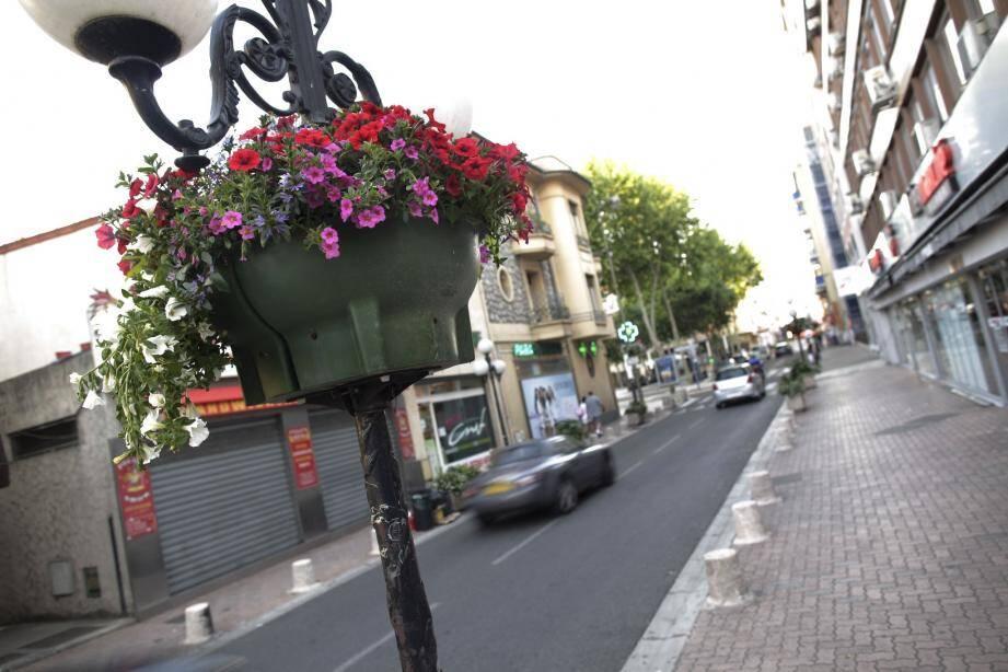 La ville a choisi d'orner ses vasques de pétunias, dans une dominante de jaune et de rouge.