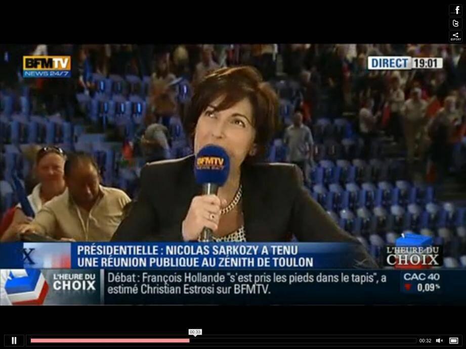 Ruth Elkrief et Thierry Arnaud ont été pris à partie par des militants UMP ce jeudi soir à Toulon, à la fin du meeting de Nicolas Sarkozy
