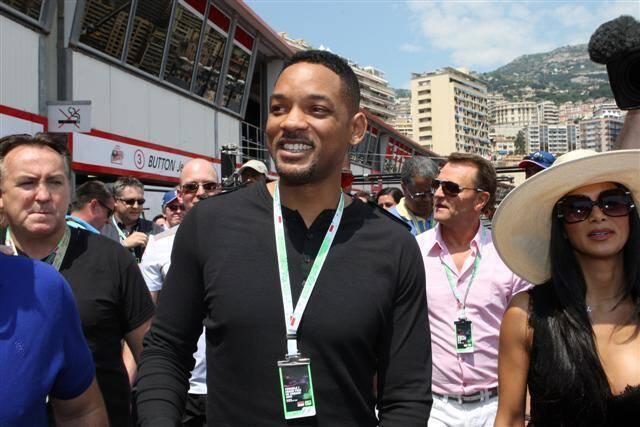 Will Smith lors de sa visite du paddock de Monaco